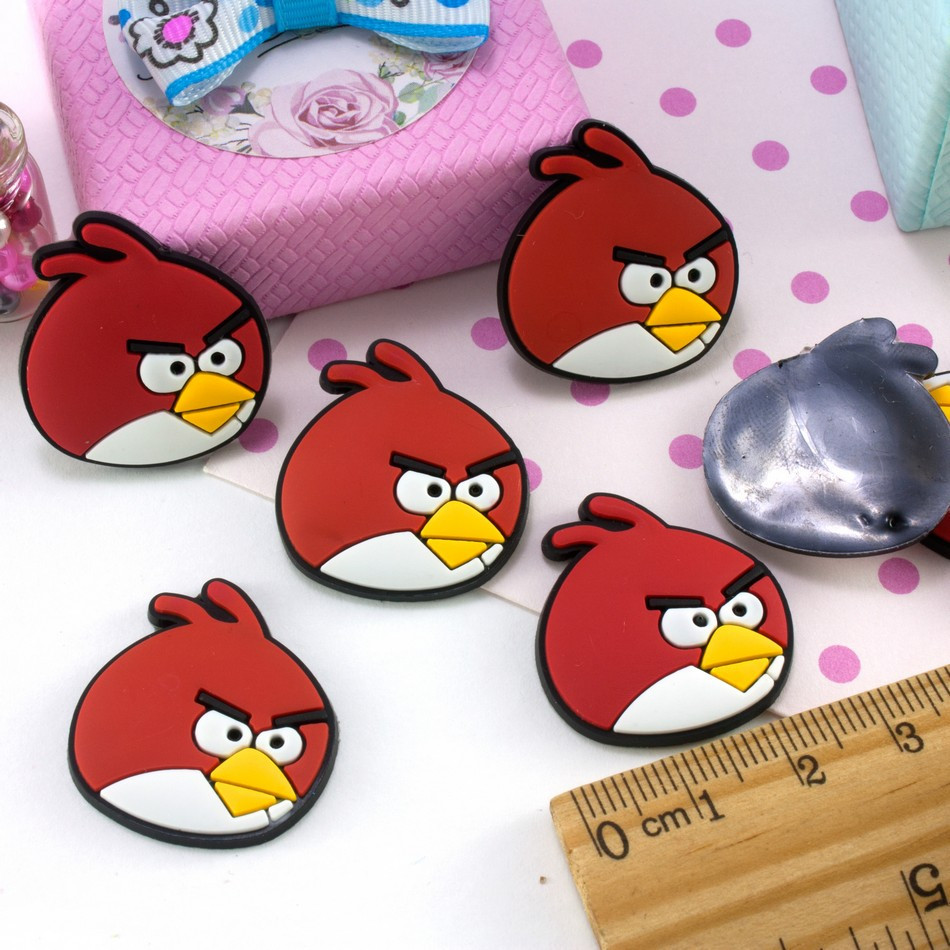 "(5 шт) Мягкие патчи из силикона 27х25мм ""Angry Birds"" Цена за упаковку Цвет на фото"