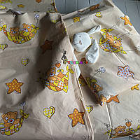 Постельный набор в детскую кроватку (3 предмета) Мишки в гамаке бежевый