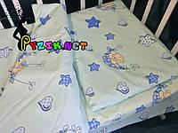 Постельный набор в детскую кроватку (3 предмета) Мишки в гамаке бирюзовый, фото 1