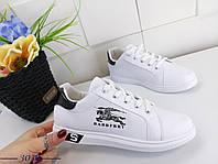 Кеды кроссовки женские белые с черной пяткой стильные эко-кожа, фото 1