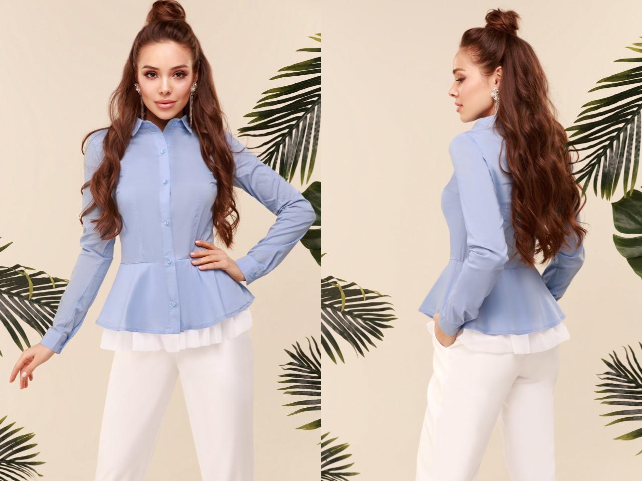 """Нарядная женская рубашка """"TORY"""" с баской и длинным рукавом (4 цвета)"""
