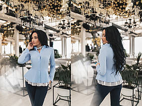"""Нарядная женская рубашка """"TORY"""" с баской и длинным рукавом (4 цвета), фото 2"""