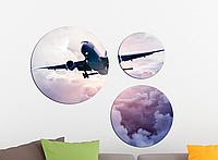 Фотокартина модульная Круглая 3 модуля Самолет