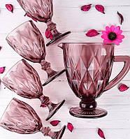 Набор бокалов и графин Граненый Изумруд розовый, 300 мл ( 6 бокалов и кувшин )