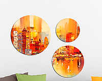 Фотокартина модульная Круглая 3 модуля Город