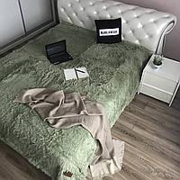 Плед покрывало на 2 спальную кровать мех травка (220х240), оливковый(10)