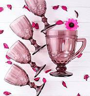 Набор бокалов Винтаж на 6 персон Розовый ( 6 бокалов по 300 мл и кувшин )