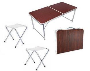 Стол алюминиевый раскладной для пикника  усиленный + 4 стула Rainberg