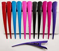 """Зажим стріла """"уточка"""" великий кольоровий глянсовий 12,5 см, упаковка 12 шт (по 2 кожного кольору), фото 1"""