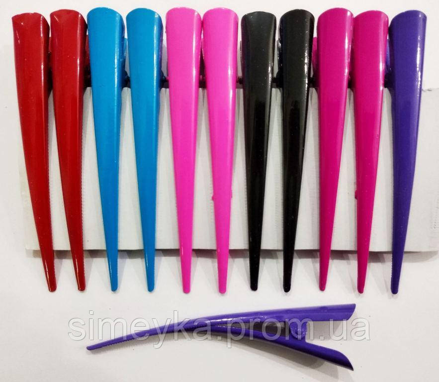 """Зажим стріла """"уточка"""" великий кольоровий глянсовий 12,5 см, упаковка 12 шт (по 2 кожного кольору)"""