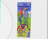Детский лук со стрелами (3шт) и мишенью, колчан для стрел