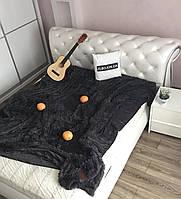Меховое покрывало на кровать, 160х200, графит, темно серый(13)