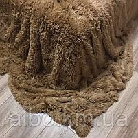 Покрывало плед меховое травка ALBO 160х200 cm Коричневое (P-b04-3), фото 7