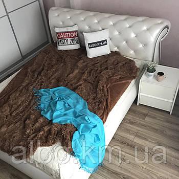 Двостороннє хутро покривало травичка 220х240 см коричневий колір, пухнасте з ворсом (для ліжка, дивани)