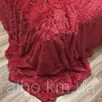 Двостороннє хутро покривало травичка 160х200 см бордовий колір, пухнасте з ворсом (для ліжка, дивани)