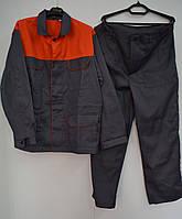 Костюм рабочий саржа серо-оранжевый, фото 1