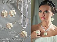 """""""Белые розочки"""" серьги+кулон+кольцо. Свадебные украшения с цветами."""