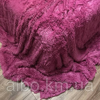 Плед травичка з хутра на диван ліжко, плед з ворсу на диван ліжко, якісні пледи на диван ліжко ALBO 160х200 cm Темно-рожевий
