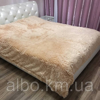 Двостороннє хутро покривало травичка 160х200 см бежеве, пухнасте з ворсом (для ліжка, дивани)