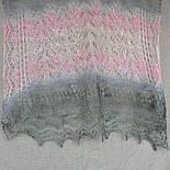 Палантин Колосок П-00054, біло-рожево-сірий , оренбурзький шарф (палантин) козячий пух, фото 8