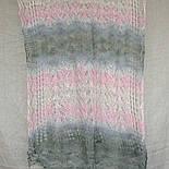 Палантин Колосок П-00054, біло-рожево-сірий , оренбурзький шарф (палантин) козячий пух, фото 6