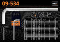 Ключ шестигранный 4.0мм, NEO 09-534