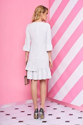 Красивое платье мини полуприталенное с рюшами рукав три четверти светло сиреневое, фото 2