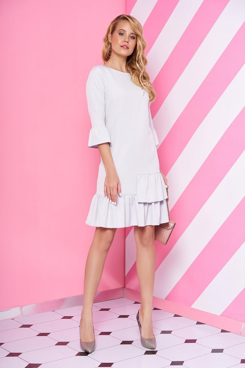 Красивое платье мини полуприталенное с рюшами рукав три четверти светло сиреневое