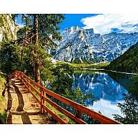 """Картина по номерам, картина-раскраска """"Озеро Брайес Италия"""" 40Х50см VP1031"""