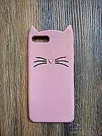 Объемный 3d силиконовый чехол для Iphone 7 Plus Усатый кот розовый