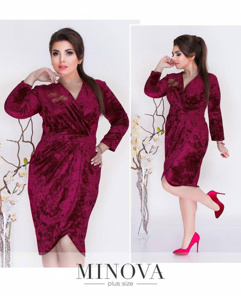 """Изумительное женское платье с аппликацией ткань """"Королевский"""" бархат 52 размер батал"""