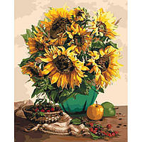 Картина по номерам. Солнечные цветы в коробке