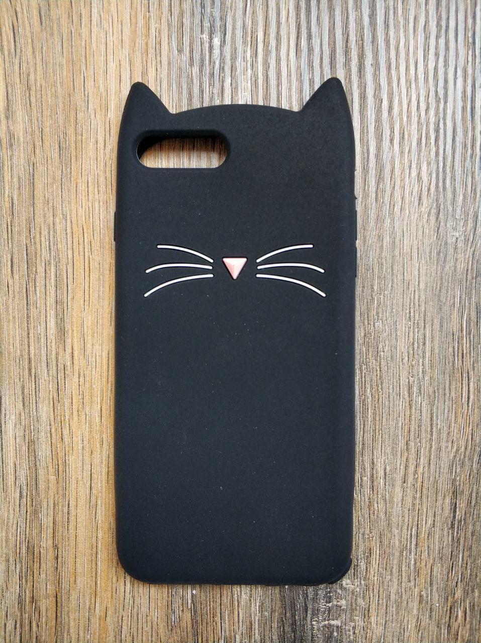 Объемный 3d силиконовый чехол для Iphone 8 Plus Усатый кот черный