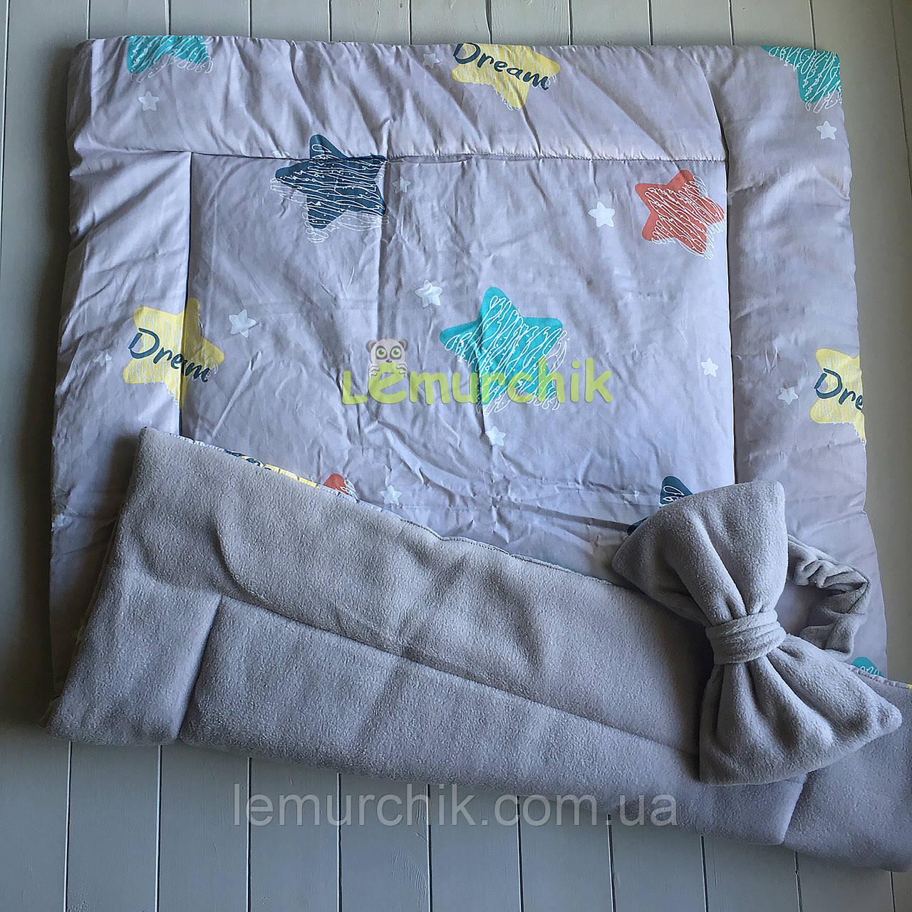 Флісовий плед-конверт з декоративним бантиком 100х80 см, сірий
