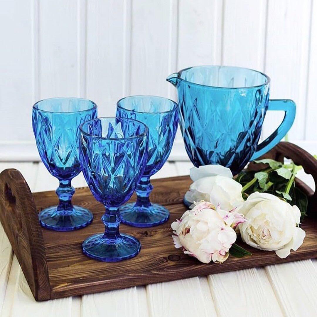 Набор бокалов на 6 персон Изумруд синий ( 6 бокалов по 300 мл и кувшин )