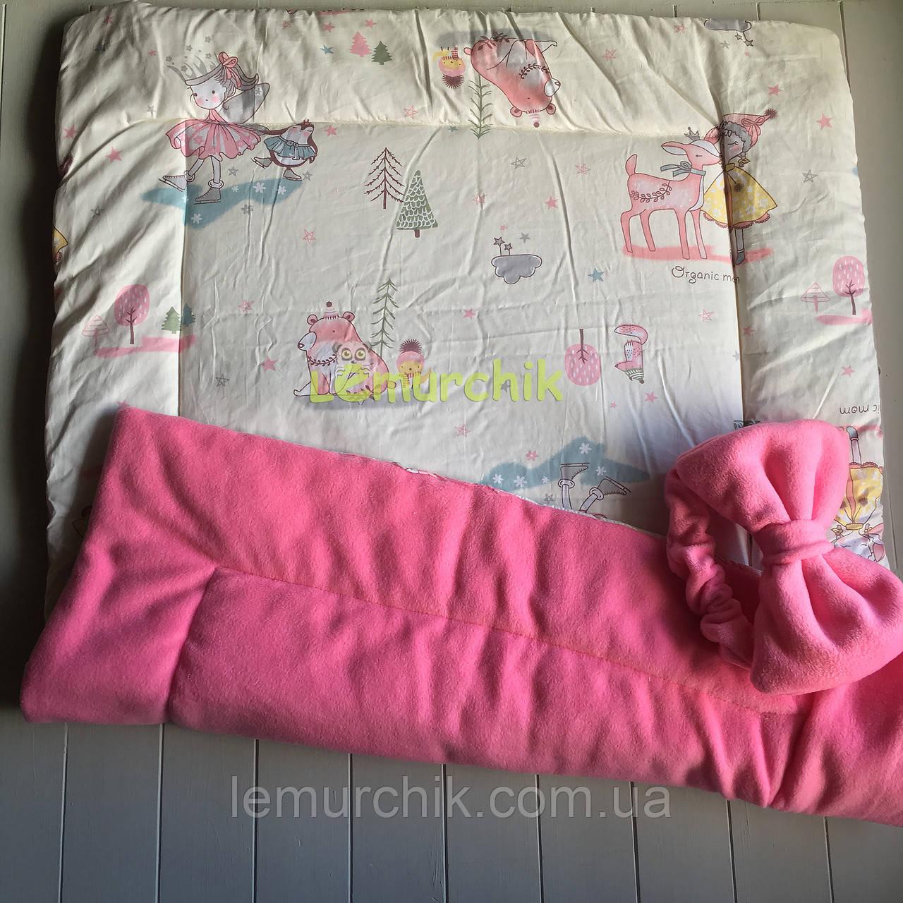 Флисовый плед-конверт с декоративным бантиком 100х80 см, розовый
