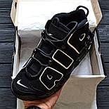 Мужские кроссовки Air More Uptempo black. Живое фото (Реплика ААА+), фото 2