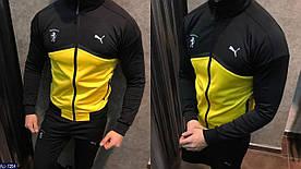 Мужской костюм Puma. Ткань турецкая двух нитка. Цвет черный с желтым и черный с красным. Размеры 46,48,50,52