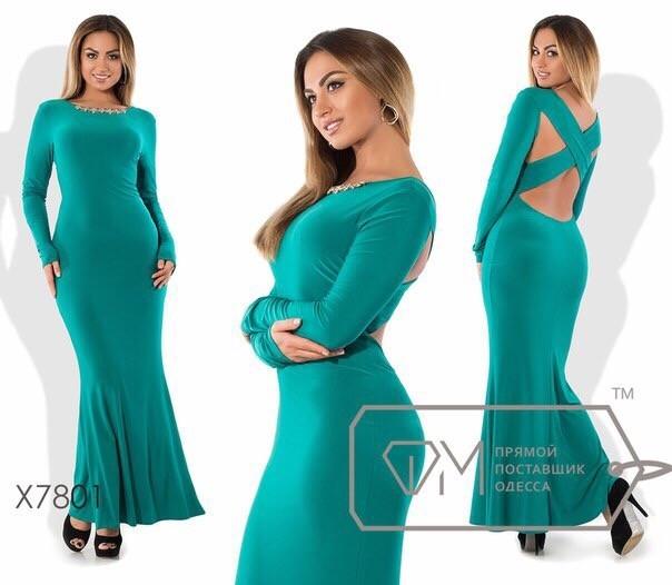 """Платья в пол с открытой спиной ткань """"Креп - Масло"""" 48 размеры батал"""