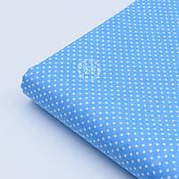 """Лоскут ткани """"Густой горошек 2 мм"""" на тёмно-голубом фоне, №1854а"""