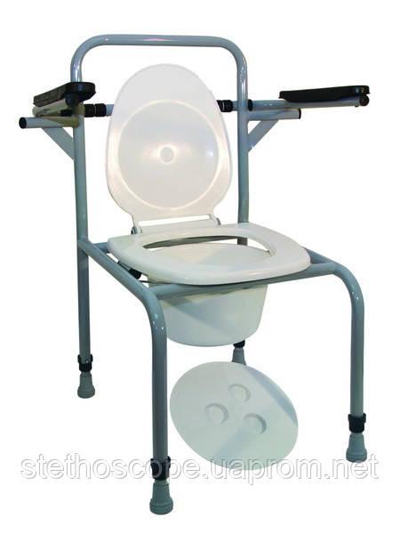 Стул туалетный стальной регулируемый с откидными поручнями СТО -1.1.0