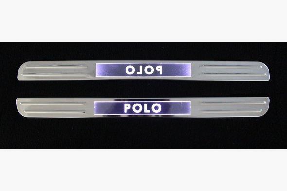 Беспроводные пороги с подсветкой (2 шт, нерж) Volkswagen Polo 2009-2017 гг.