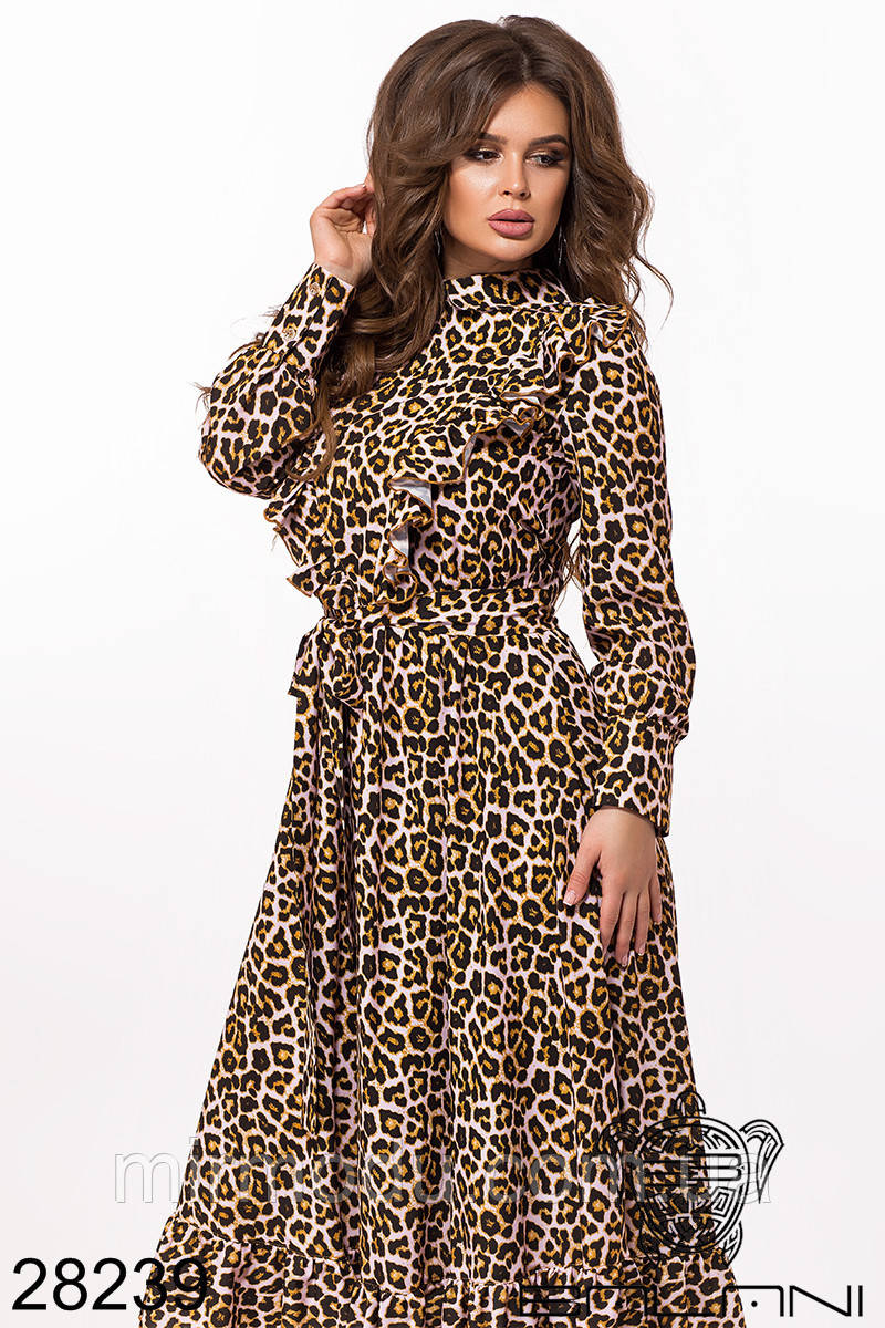 Модное платье леопард -28239  (2 цвета)   размер S-L (бн)