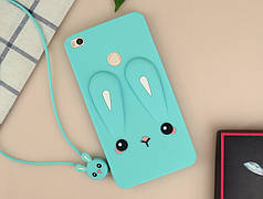 Чехол Бампер 3D для Xiaomi Mi Max резиновый Funny-Bunny голубой