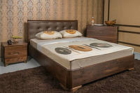 Двуспальная кровать из бука Милена с мягкой спинкой квадраты с подъемным механизмом ТМ Олимп