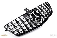 Решетка радиатора тюнинг Mercedes w212 (09-13) стиль AMG GT-R (черный глянц + хром звезда)