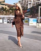 """Приталенное леопардовое миди-платье """"Лео"""" с запахом (2 цвета)"""