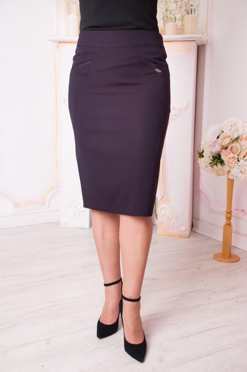 d682aa39381 Женская юбка карандаш за колено с красивой отделкой. Размеры 48-60 - EVA  LOOK