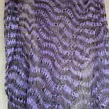 Палантин Гребешок П-00128, сиренево-черничный, 170х70, оренбургский шарф (палантин) козий пух, фото 3