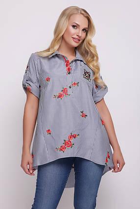 Рубашка женская Ангелина вышивка черно-белая, фото 2